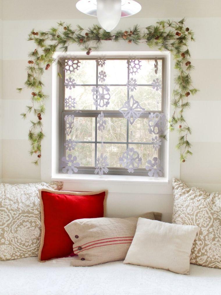 guirnalda ventana ramas pino natural
