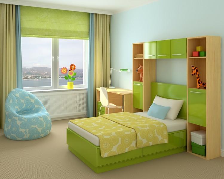 habitacion juvenil muebles preciosa hijos cama verde ideas
