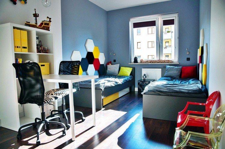 habitacion juvenil muebles preciosa hijos pared azul ideas