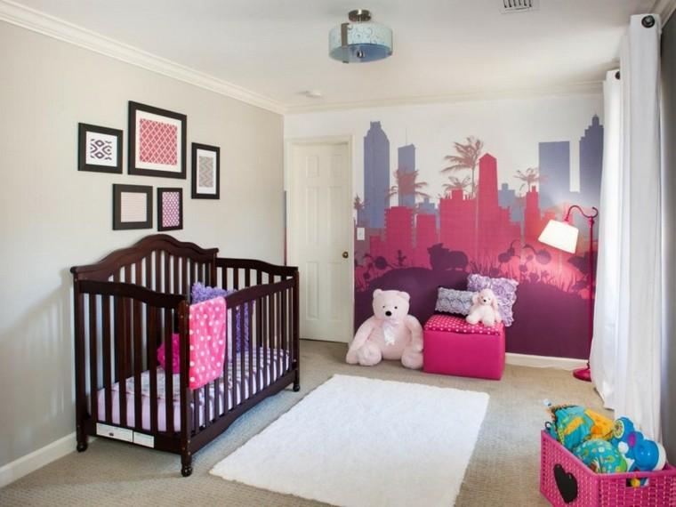 habitaciones de bebe ideas niña alfombras rosa