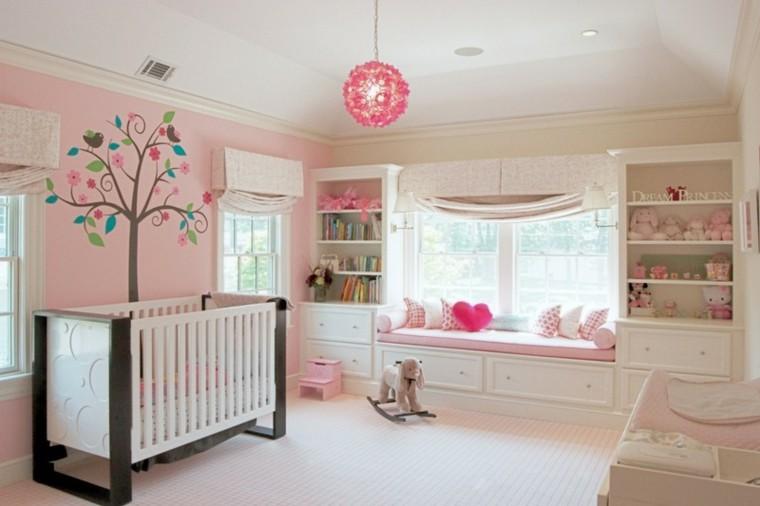habitaciones de bebe ideas niña arboles lampara