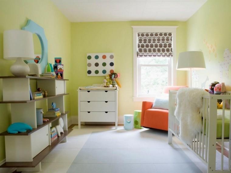 habitaciones de bebe ideas niña azules naranja