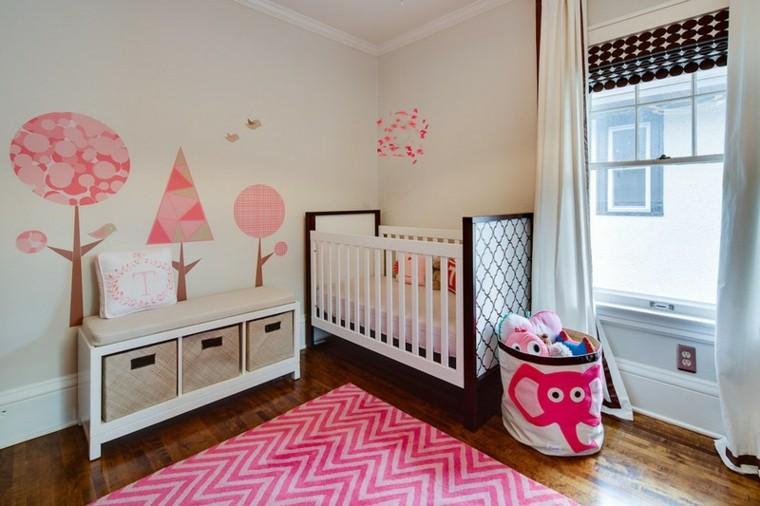 habitaciones de bebe ideas niña blanco arboles