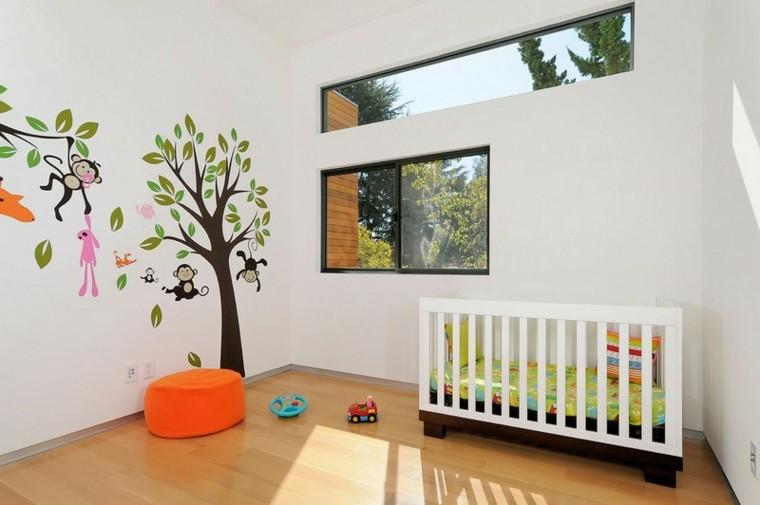 habitaciones de bebe ideas niña bosque diseño