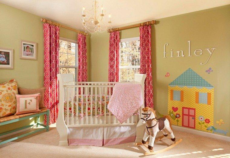 habitaciones de bebe ideas niña caballo cortinas