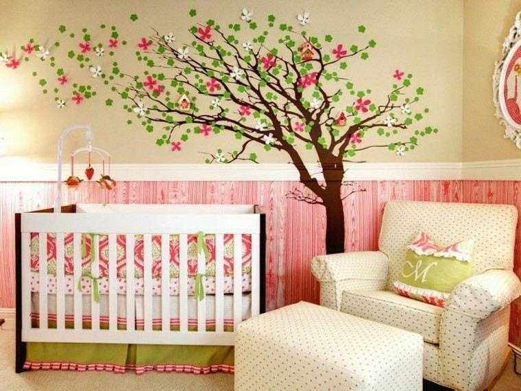 habitaciones de bebe ideas niña colorido bosque unica