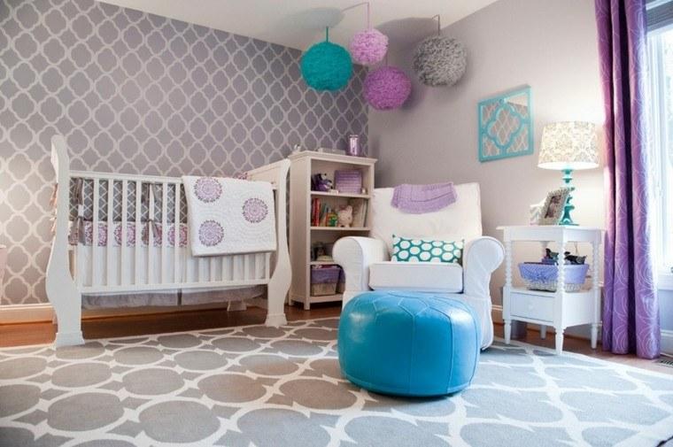 habitaciones de bebe ideas niña colorido grises