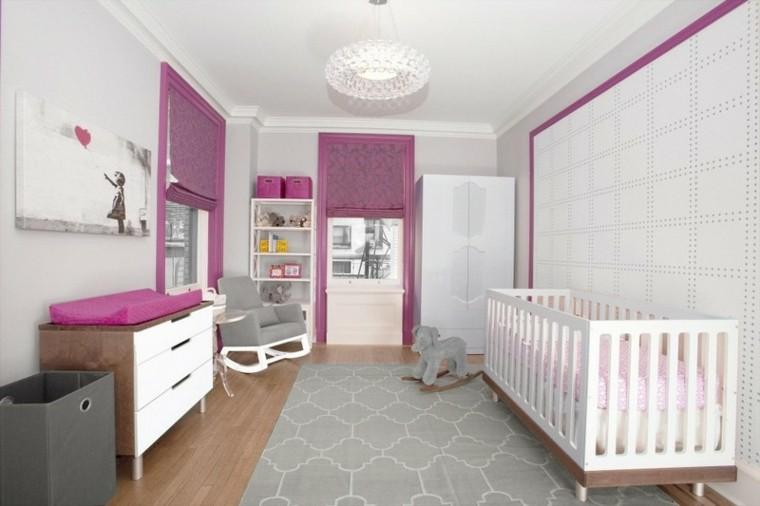 habitaciones de bebe ideas niña grises blanco
