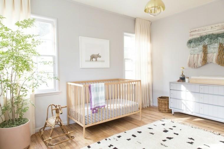 habitaciones de bebe ideas niña plnatas cortinas