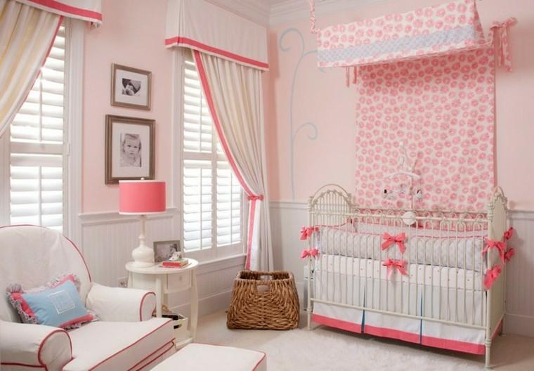 habitaciones de bebe ideas niña rosa textiles
