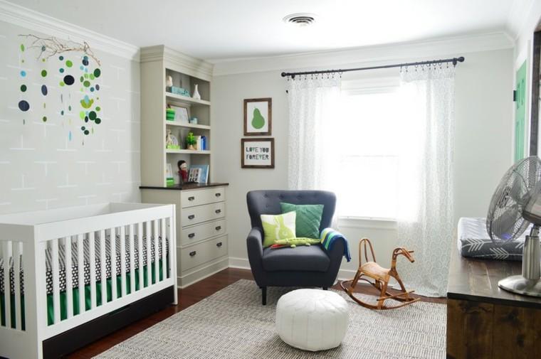 habitaciones ideas niña verdes gris caballo
