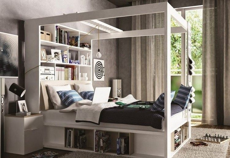 infantiles muebles preciosos ninos cama dosel blanco ideas