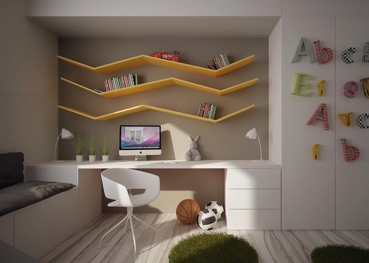 habitaciones muebles preciosos hijos estantes amarillos ideas