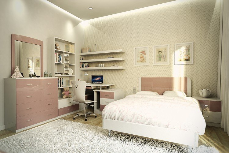 Habitaciones juveniles muebles para espacios peque os - Chambre ado fille blanche ...