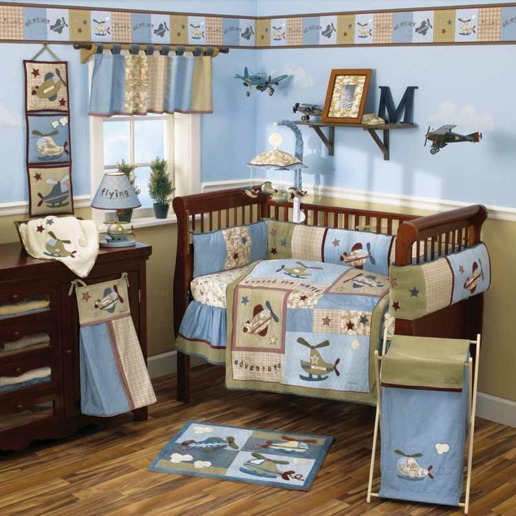 habitaciones para bebes cortinas aviones madera