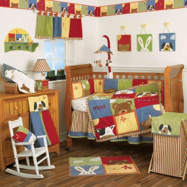 habitaciones para bebes cortinas balance colorido