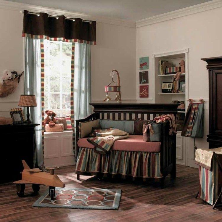 habitaciones para bebes  cortinas colores marron
