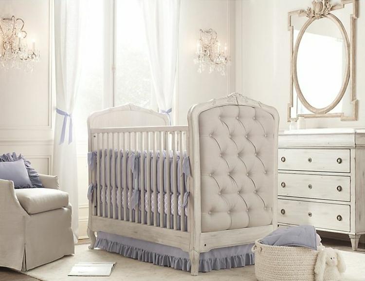 habitaciones para bebes cortinas espejo elegante