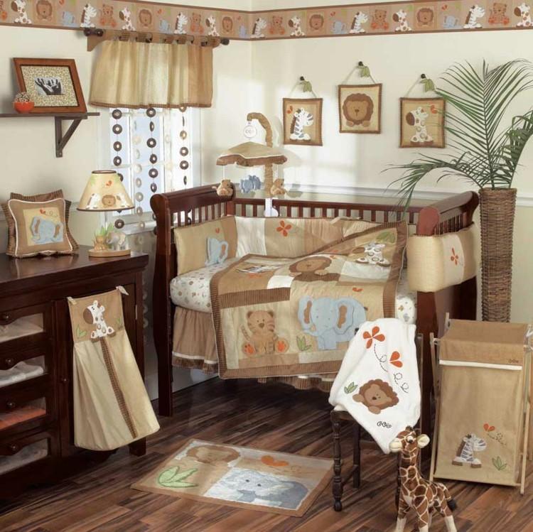 habitaciones para bebes cortinas madera plantas