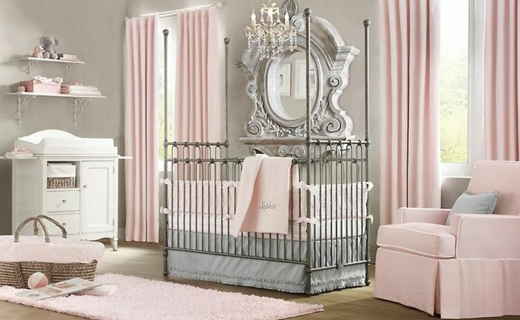 habitaciones para bebes cortinas rosa metales