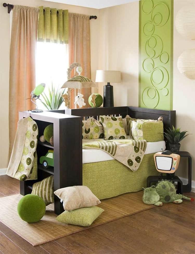 habitaciones para bebes cortinas verde negro