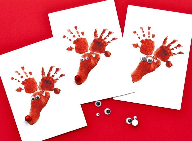 hacer tarjetas navideñas huellas manos