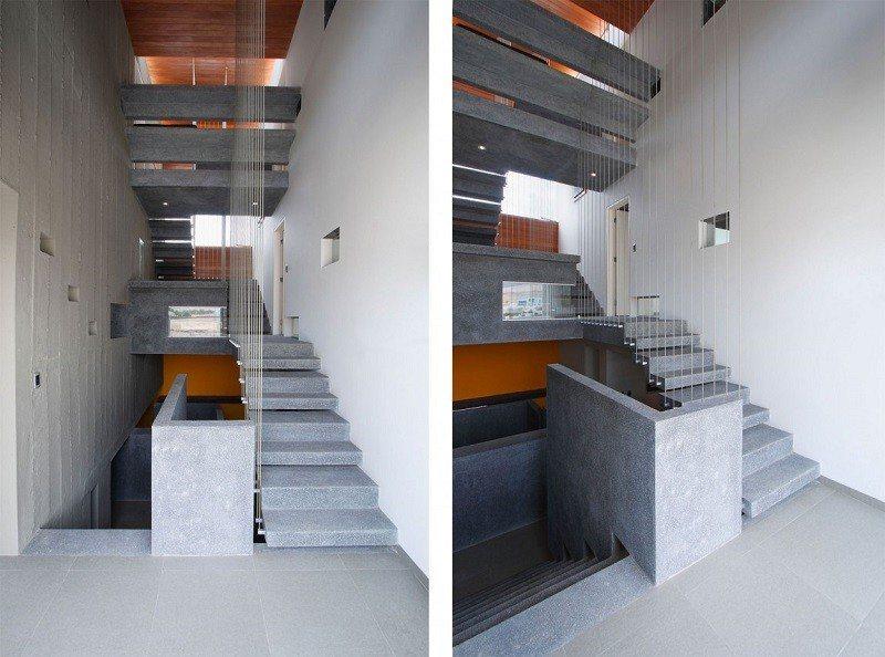 hormign armado expuesto casa escaleras ideas