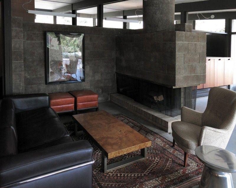 hormigón armado expuesto casa salon chimenea ideas