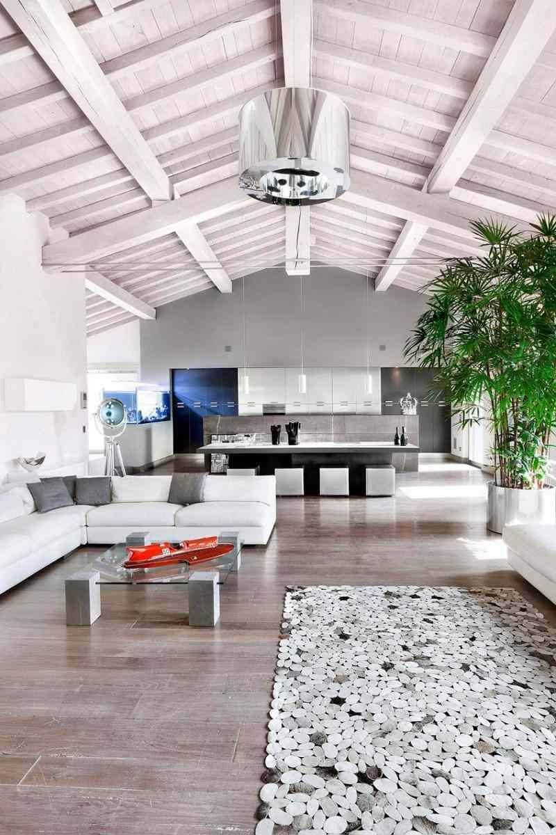 hormigón armado expuesto techos paredes casa muebles blancos ideas