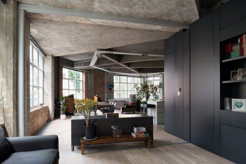hormigón armado expuesto techos paredes casa negro ideas
