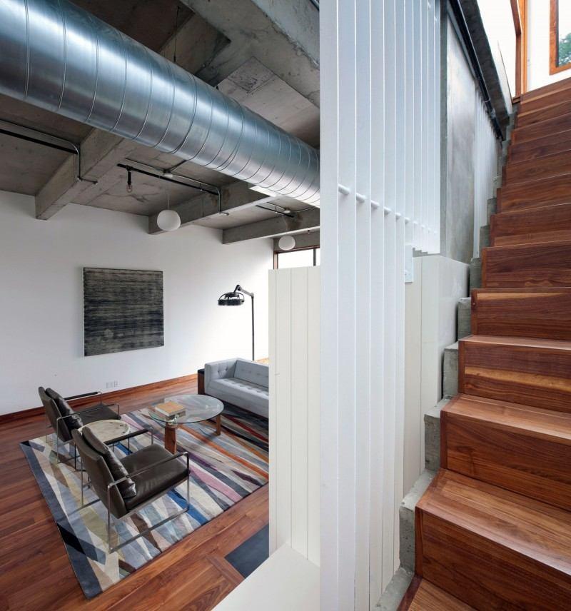 hormigón armado expuesto techos paredes casa salon ideas