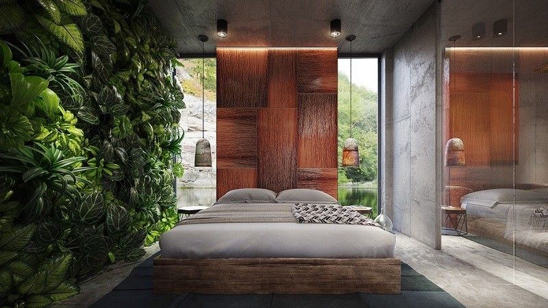 hormigon expuesto casa dormitorio tropical ideas