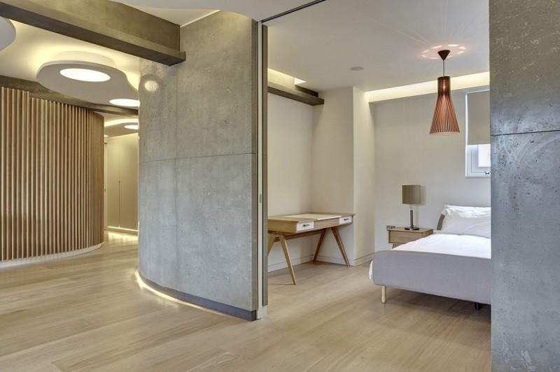 hormigon expuesto casa pared dormitorio ideas