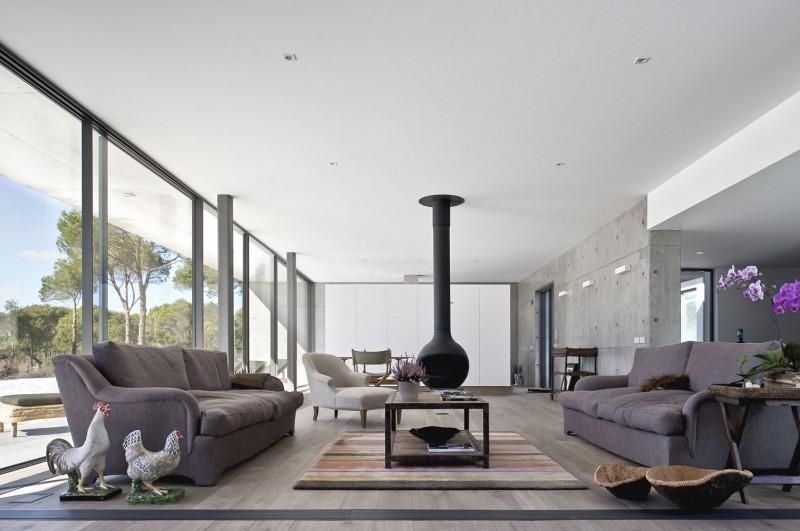 hormigon expuesto casa salon amplio diseño ideas