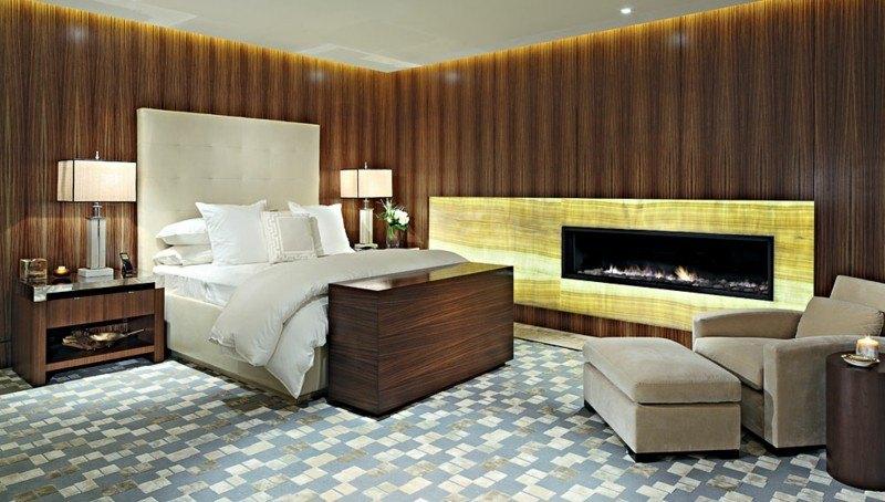 ideas decoración dormitorio chimenea moderna moderno