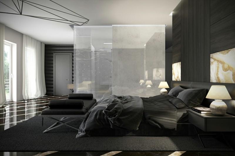 ideas decoración dormitorio diseno negro moderno
