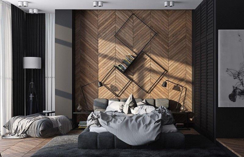 ideas decoración dormitorio estanterias acero negro moderno