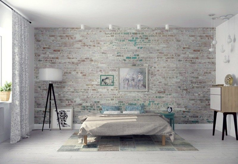 ideas decoracion dormitorio pared ladrillo moderno