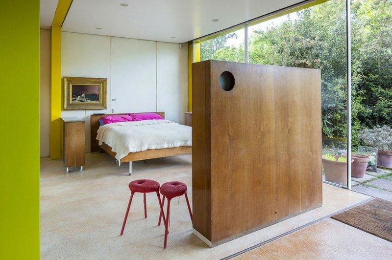 ideas decoracion dormitorio pared separadora madera moderno