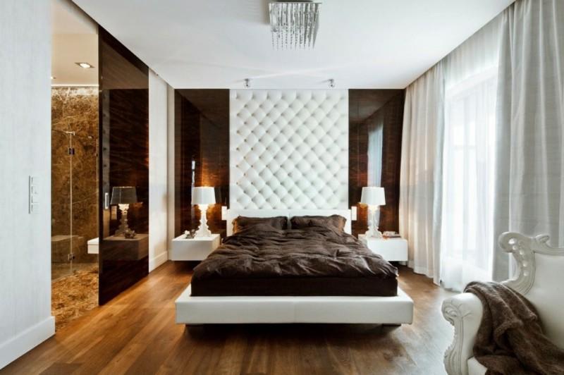 ideas decoracion dormitorio respaldo cuero blanco moderno