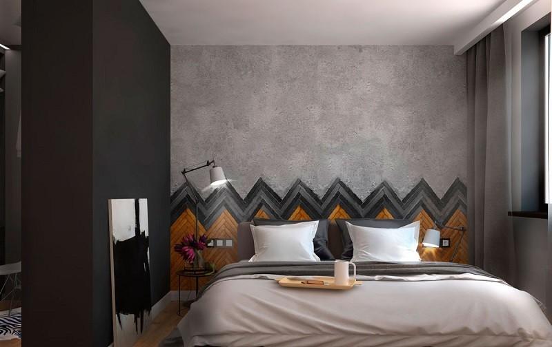 ideas decoracion dormitorio estrecho cama grande moderno