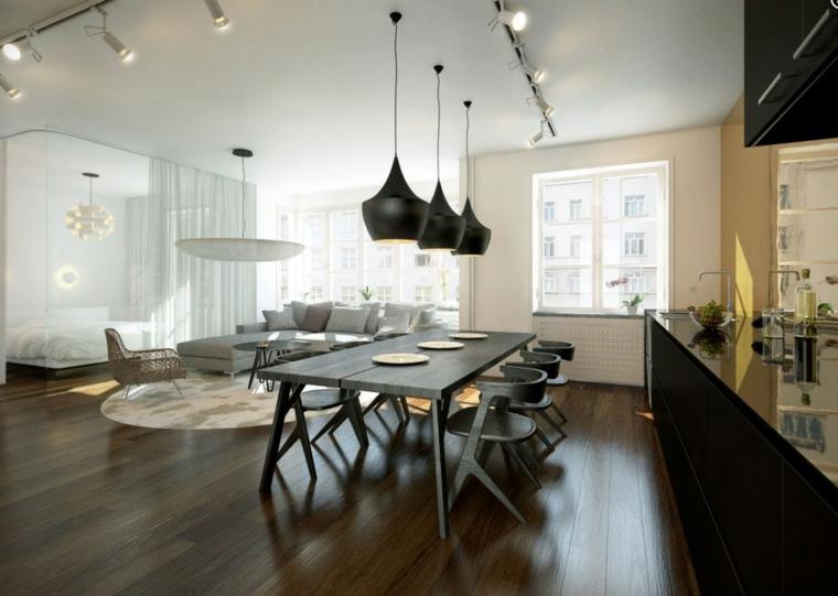 ideas diseño negro lamparas madera