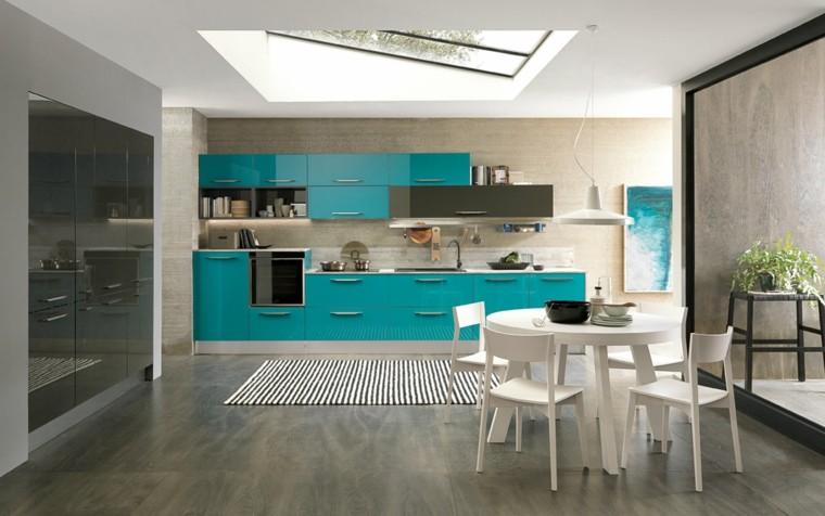 imágenes de cocinas diseno moderno armarios azules ideas
