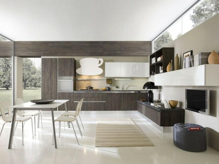 imagenes cocinas diseno moderno madera oscura ideas
