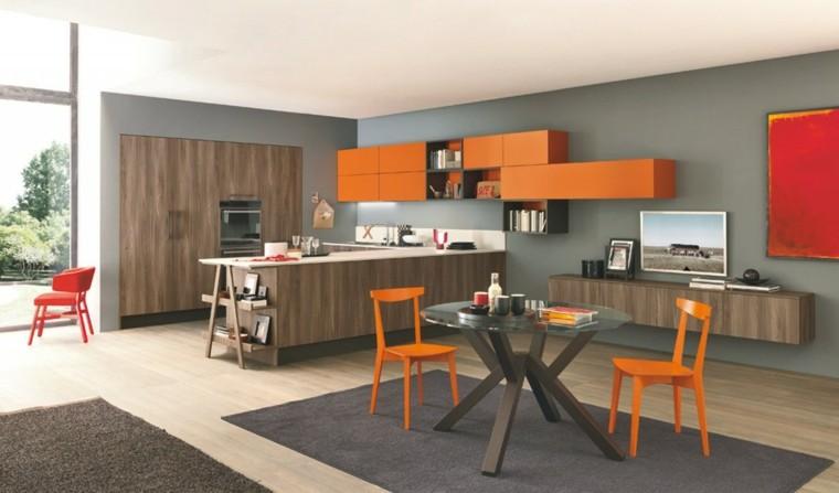 imagenes cocinas diseno moderno naranja ideas