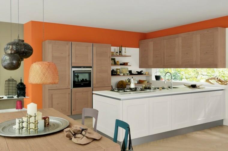 imagenes cocinas diseno moderno pared naranja ideas
