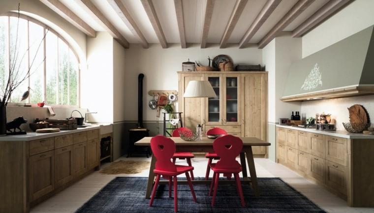 imagenes cocinas diseno moderno sillas rojas ideas