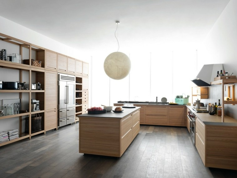 imagenes cocinas diseno moderno suelo muebles madera ideas