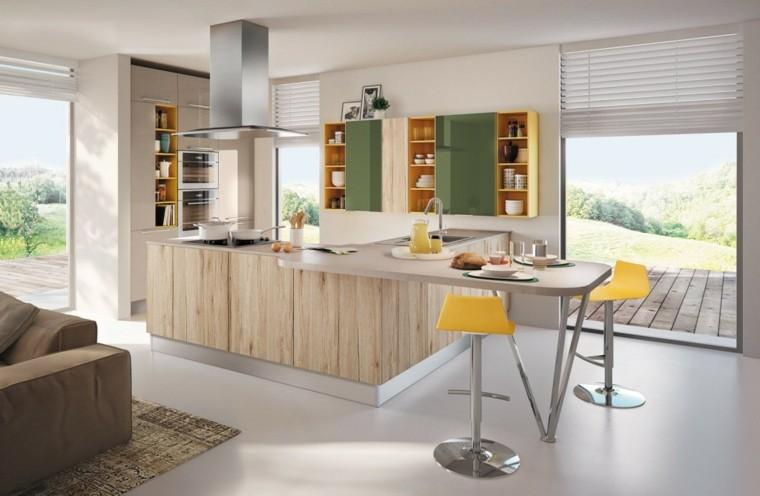 imagenes cocinas diseno moderno taburetes amarillos ideas