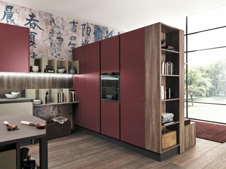 imagenes cocinas muebles madera iluminacion ideas